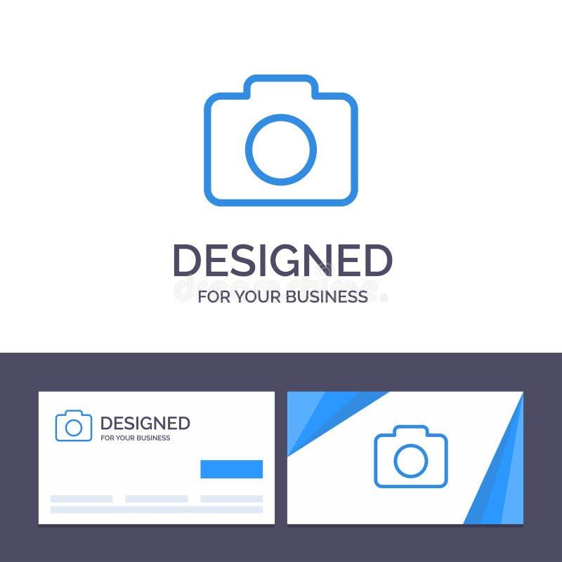 Kreatywnie wizytówki i logo szablon Instagram, kamera, wizerunku wektoru ilustracja royalty ilustracja