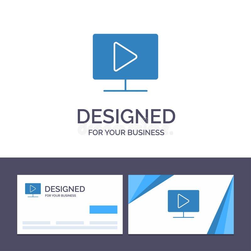 Kreatywnie wizytówki i logo szablon Monitoruje, komputer, wideo, sztuka wektoru ilustracja ilustracja wektor