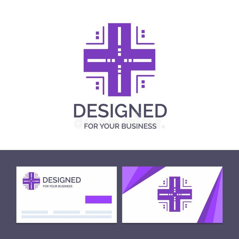 Kreatywnie wizytówki i logo szablon Oblicza, baza danych, Datacenter, komputer mainframe, serweru wektoru ilustracja ilustracja wektor