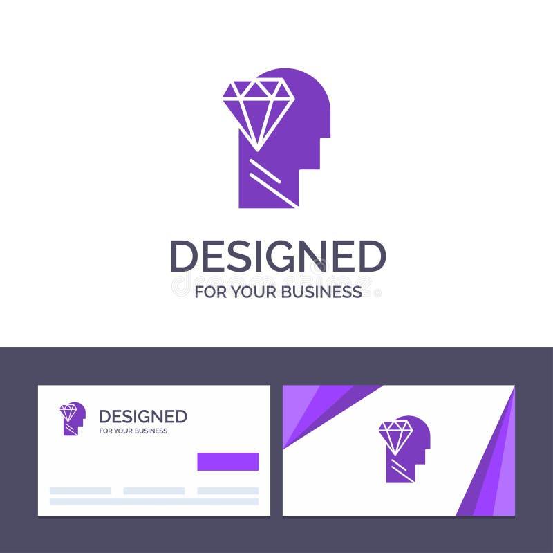 Kreatywnie wizytówki i logo szablon Pamięta, doskonałość, diament, Kierownicza Wektorowa ilustracja ilustracja wektor