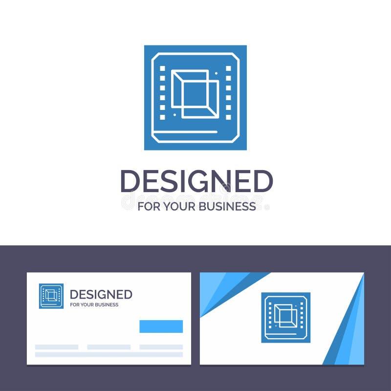 Kreatywnie wizytówki i logo szablon Szczerbi się, komputer, jednostka centralna, narzędzia, procesoru wektoru ilustracja ilustracji