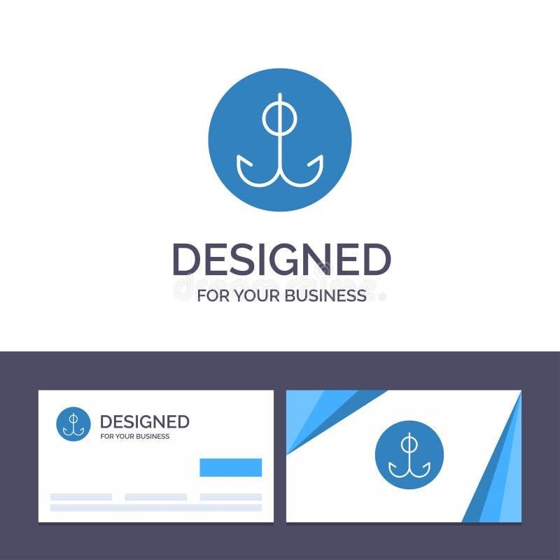 Kreatywnie wizytówki i logo szablon Wabije, Łowiący, haczyk, sporta wektoru ilustracja ilustracja wektor