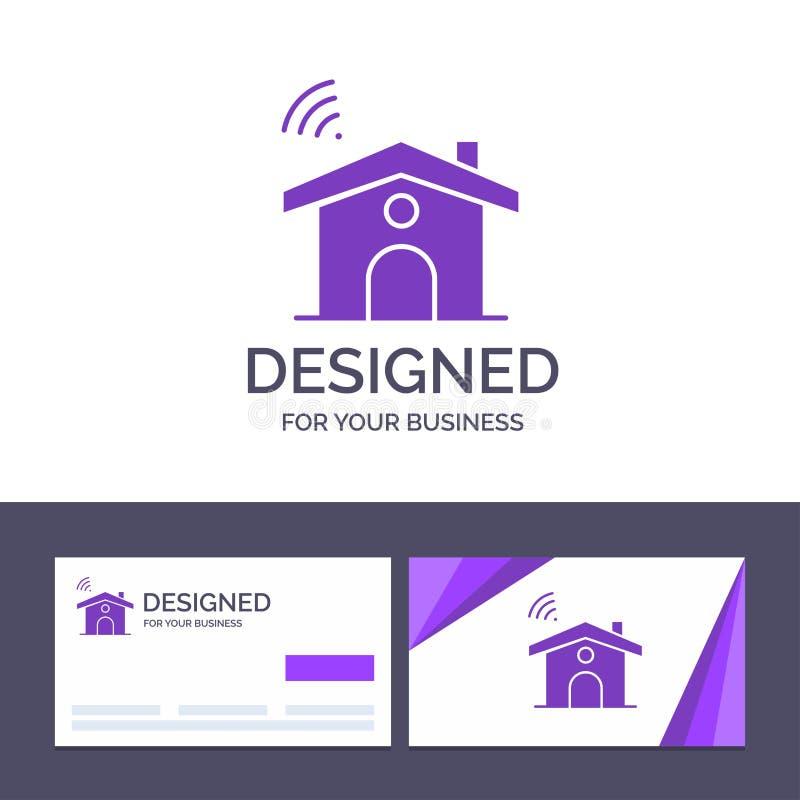 Kreatywnie wizytówki i logo szablon Wifi, usługa, sygnał, Domowa Wektorowa ilustracja royalty ilustracja