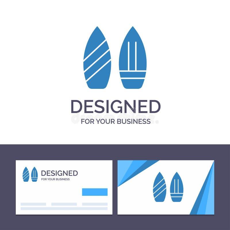 Kreatywnie wizytówki i logo szablonu łyżwa, Snowboard, sporty, zima wektoru ilustracja ilustracji