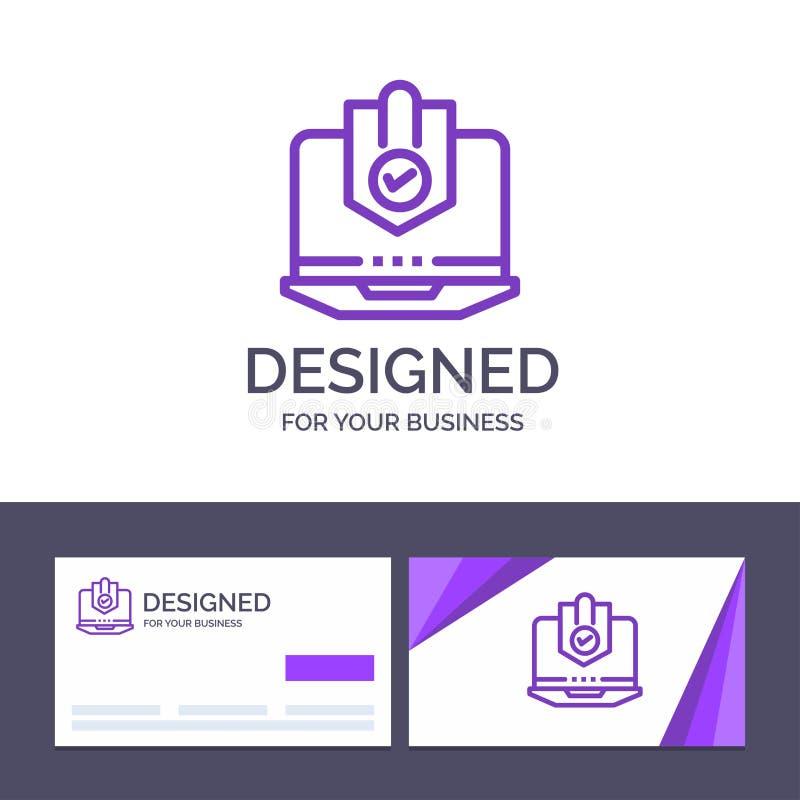 Kreatywnie wizytówki i logo szablonu Antivirus, komputer, internet, laptop, Ochraniający, ochrona, ochrona wektor ilustracji