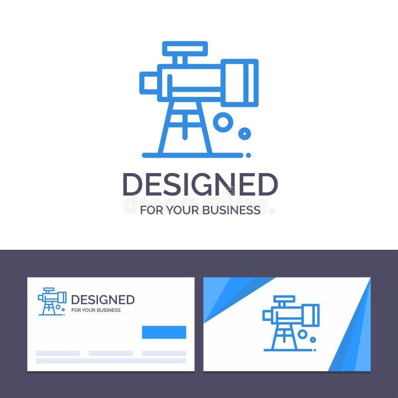 Kreatywnie wizytówki i logo szablonu astronomia, zakres, przestrzeń, teleskopu wektoru ilustracja royalty ilustracja