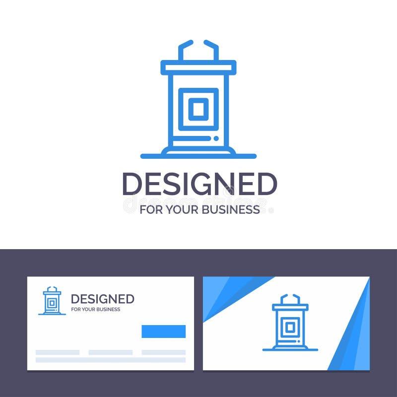 Kreatywnie wizytówki i logo szablonu biurko, konferencja, spotkanie, profesora wektoru ilustracja royalty ilustracja