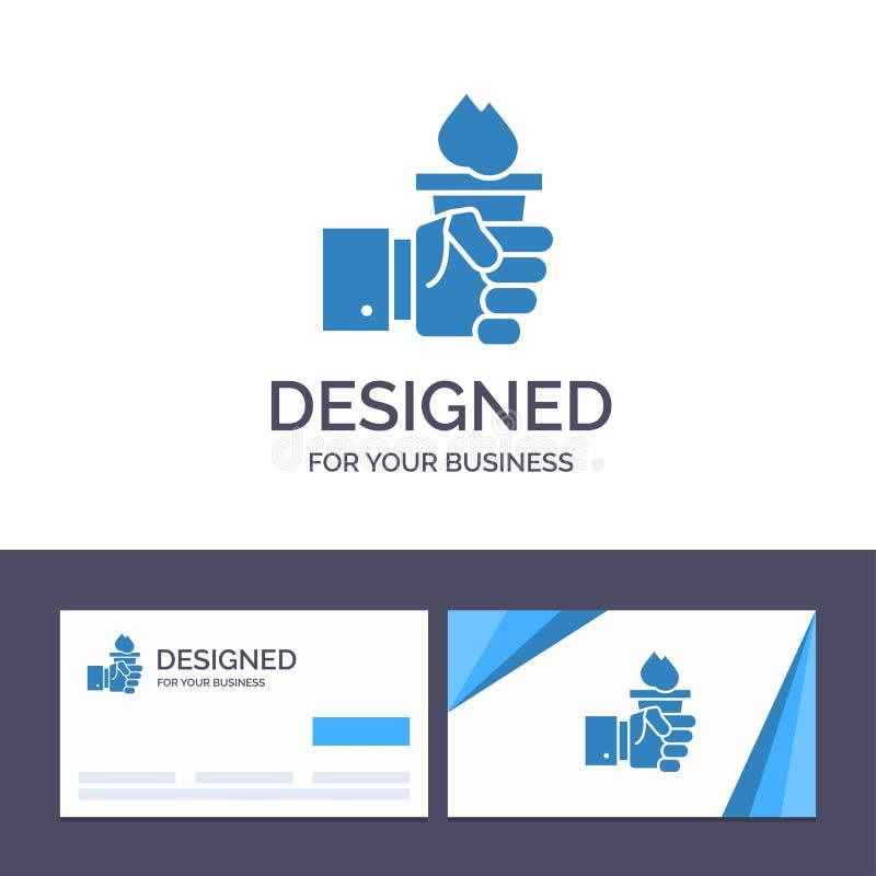Kreatywnie wizytówki i logo szablonu biznes, ręka, lider, przywódctwo, Olimpijska Wektorowa ilustracja royalty ilustracja