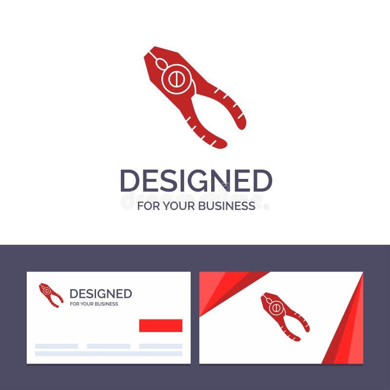 Kreatywnie wizytówki i logo szablonu chwytniki, cążki, Tongs, naprawa, Narzędziowa Wektorowa ilustracja ilustracji