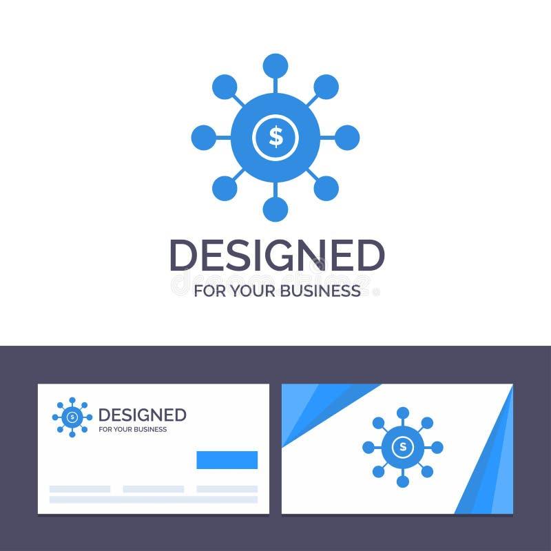 Kreatywnie wizytówki i logo szablonu dolar, pieniądze, związek, obsiewanie, Pieniężna Wektorowa ilustracja ilustracja wektor