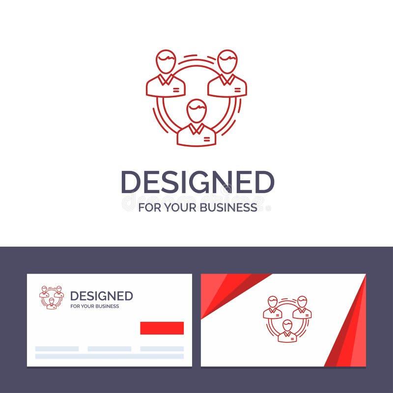 Kreatywnie wizytówki i logo szablonu drużyna, biznes, komunikacja, hierarchia, ludzie, socjalny, struktura wektoru ilustracja ilustracja wektor