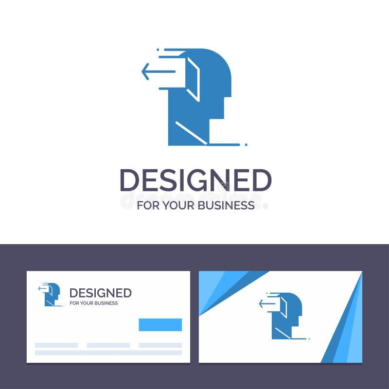 Kreatywnie wizytówki i logo szablonu drzwi, umysł, negatyw, Za, uwolnienie wektoru ilustracja royalty ilustracja