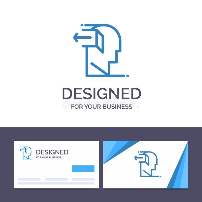Kreatywnie wizytówki i logo szablonu drzwi, umysł, negatyw, Za, uwolnienie wektoru ilustracja ilustracja wektor