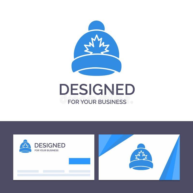 Kreatywnie wizytówki i logo szablonu kapelusz, nakrętka, liść, Kanada wektoru ilustracja ilustracja wektor