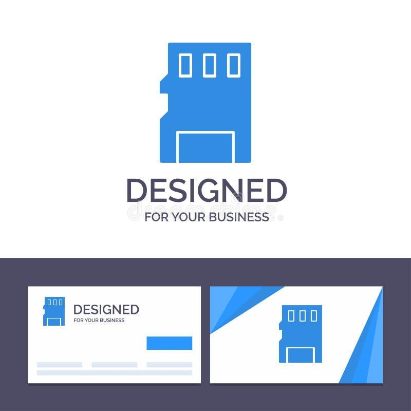 Kreatywnie wizytówki i logo szablonu karta, pamięć, karta pamięci, SD wektoru ilustracja royalty ilustracja