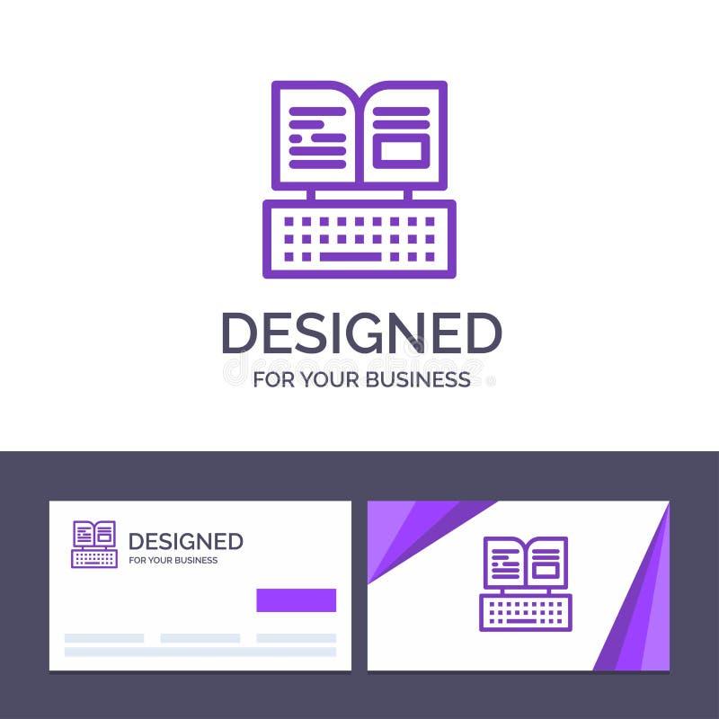 Kreatywnie wizytówki i logo szablonu klucz, klawiatura, książka, Facebook wektoru ilustracja royalty ilustracja