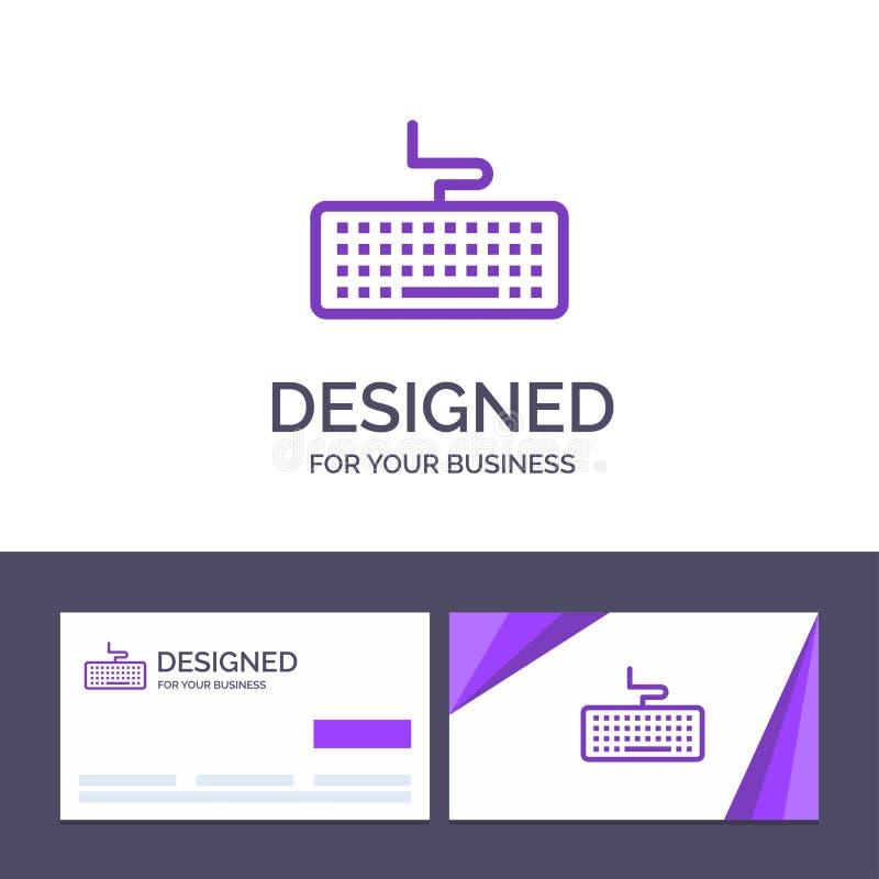 Kreatywnie wizytówki i logo szablonu klucz, klawiatura, narzędzia, edukacja wektoru ilustracja ilustracji