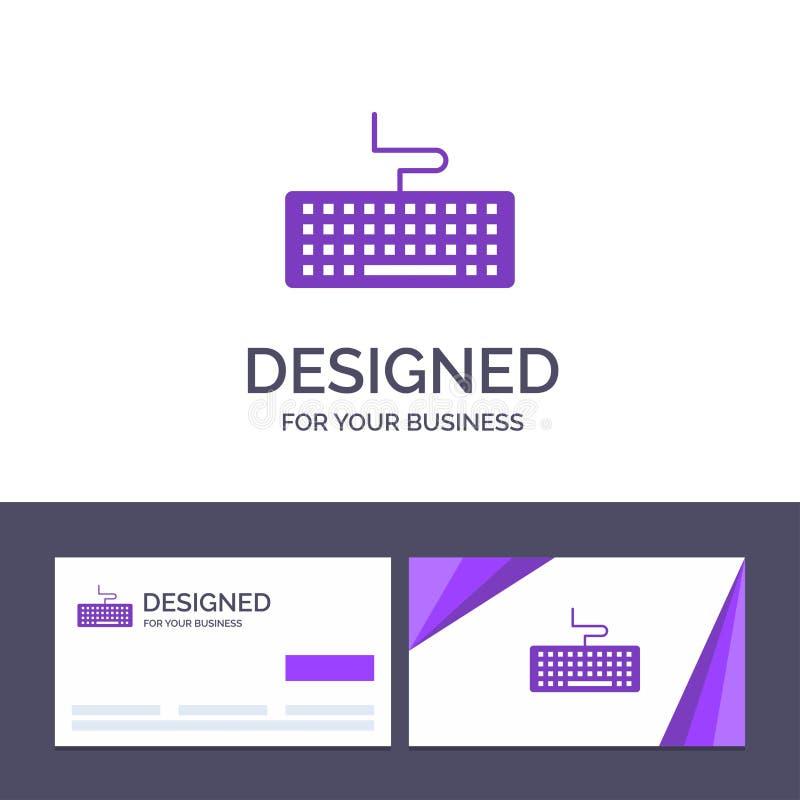 Kreatywnie wizytówki i logo szablonu klucz, klawiatura, narzędzia, edukacja wektoru ilustracja royalty ilustracja