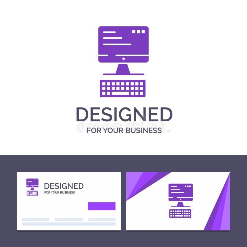 Kreatywnie wizytówki i logo szablonu komputer, klawiatura, monitor, Oblicza Wektorową ilustrację ilustracja wektor