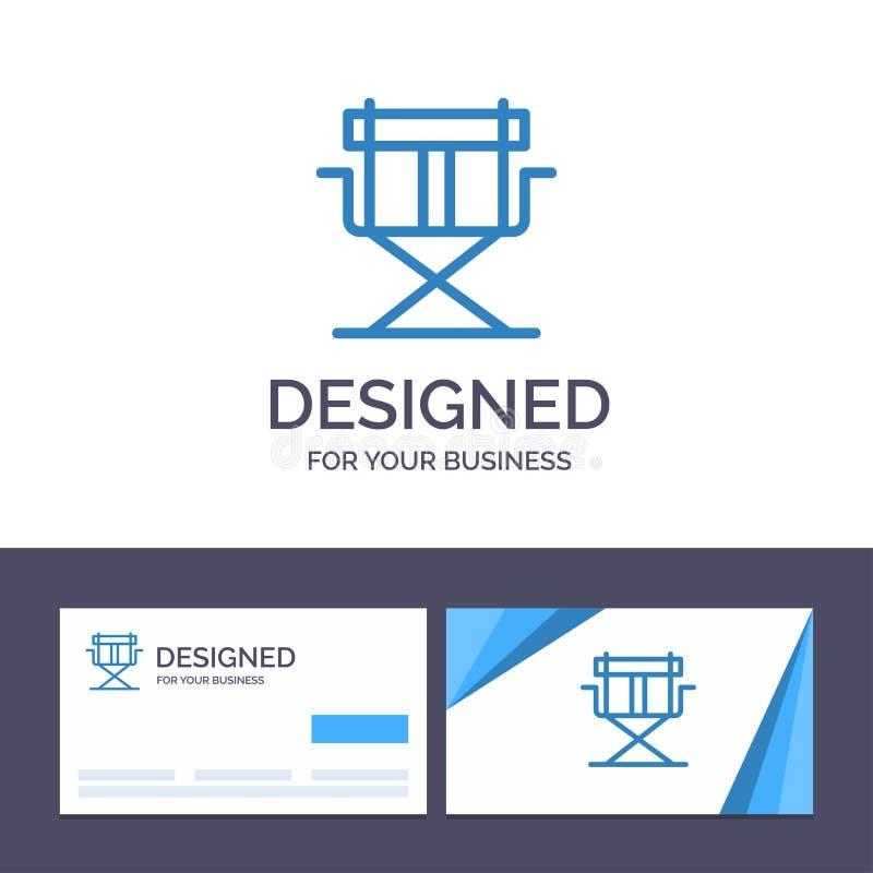 Kreatywnie wizytówki i logo szablonu krzesło, dyrektor, dyrektory, Foldable Wektorowa ilustracja royalty ilustracja
