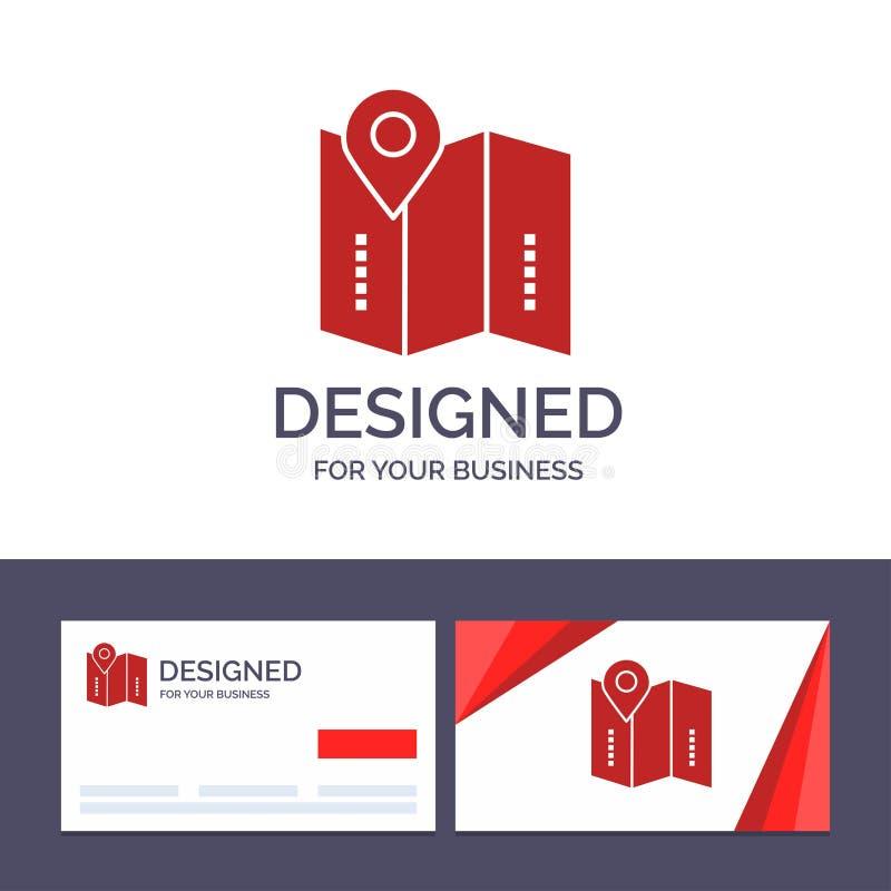 Kreatywnie wizytówki i logo szablonu mapa, lokacja, kierunki, lokacja, Wektorowa ilustracja ilustracja wektor