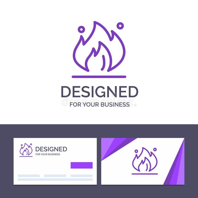 Kreatywnie wizytówki i logo szablonu ogień, przemysł, olej, budowa wektoru ilustracja royalty ilustracja