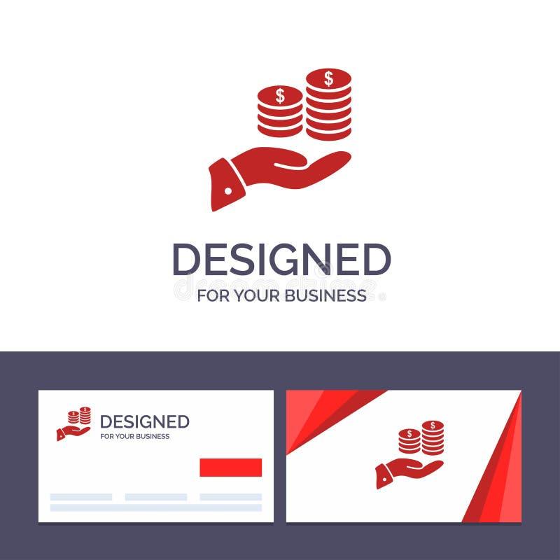 Kreatywnie wizytówki i logo szablonu oszczędzania, opieka, moneta, gospodarka, finanse, Guarder, pieniądze, Oprócz Wektorowej ilu royalty ilustracja