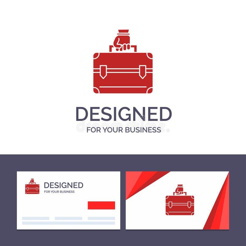 Kreatywnie wizytówki i logo szablonu pieniądze, teczka, skrzynka, torba wektoru ilustracja ilustracji