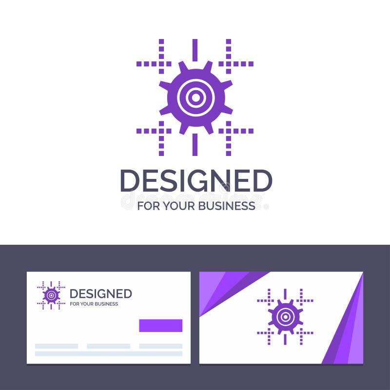 Kreatywnie wizytówki i logo szablonu położenie, przekładnia, Obliczający, Kreskowa Wektorowa ilustracja royalty ilustracja
