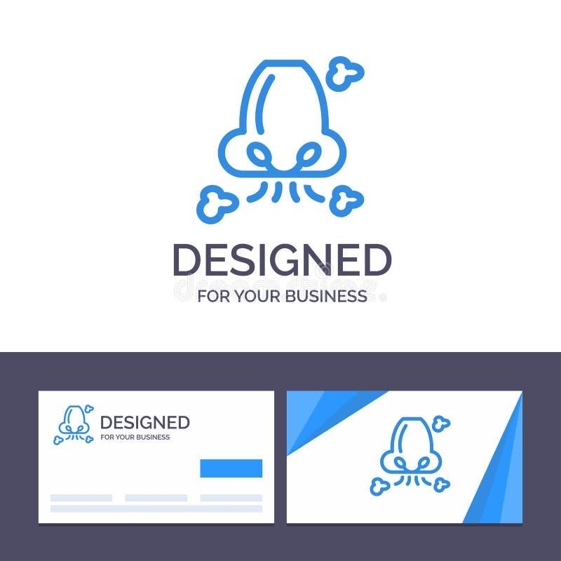 Kreatywnie wizytówki i logo szablonu powietrze, Oddycha, zdrowie, nos, zanieczyszczenie wektoru ilustracja ilustracji