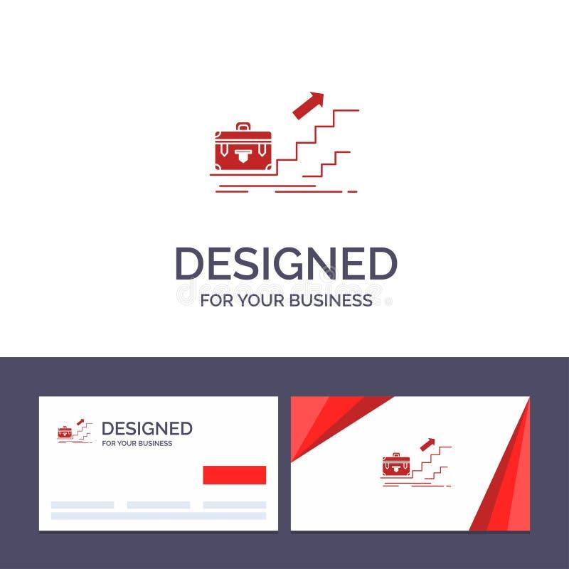 Kreatywnie wizytówki i logo szablonu przyrost, biznes, kariera, lider, przywódctwo, ogłoszenie towarzyskie, sukcesu wektoru ilust royalty ilustracja