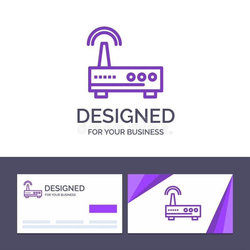 Kreatywnie wizytówki i logo szablonu przyrząd, Wifi, sygnał, edukacja wektoru ilustracja royalty ilustracja
