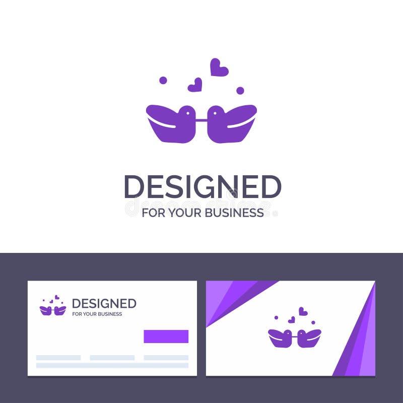 Kreatywnie wizytówki i logo szablonu ptaki, Lovebirds, para, Nurkują Wektorową ilustrację ilustracja wektor