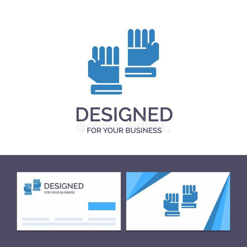 Kreatywnie wizytówki i logo szablonu rękawiczka, rękawiczki, bramkarz, sporta wektoru ilustracja royalty ilustracja