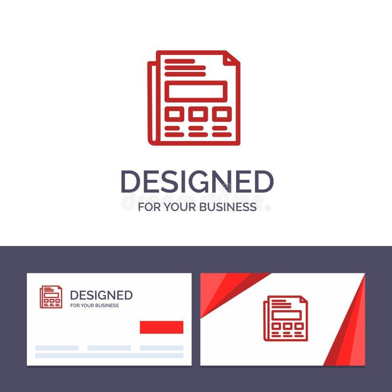 Kreatywnie wizytówki i logo szablonu raport, papier, prześcieradło, prezentacja wektoru ilustracja royalty ilustracja