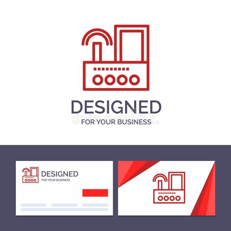 Kreatywnie wizytówki i logo szablonu router, przyrząd, sygnał, Wifi, Radiowa Wektorowa ilustracja ilustracji