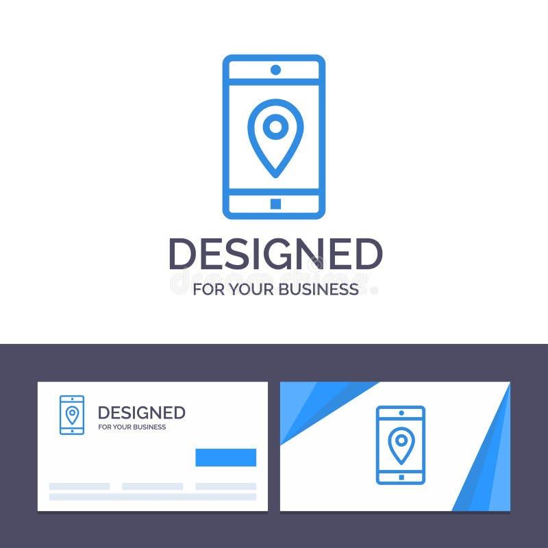 Kreatywnie wizytówki i logo szablonu zastosowanie, wisząca ozdoba, Mobilny zastosowanie, lokacja, mapa wektoru ilustracja royalty ilustracja