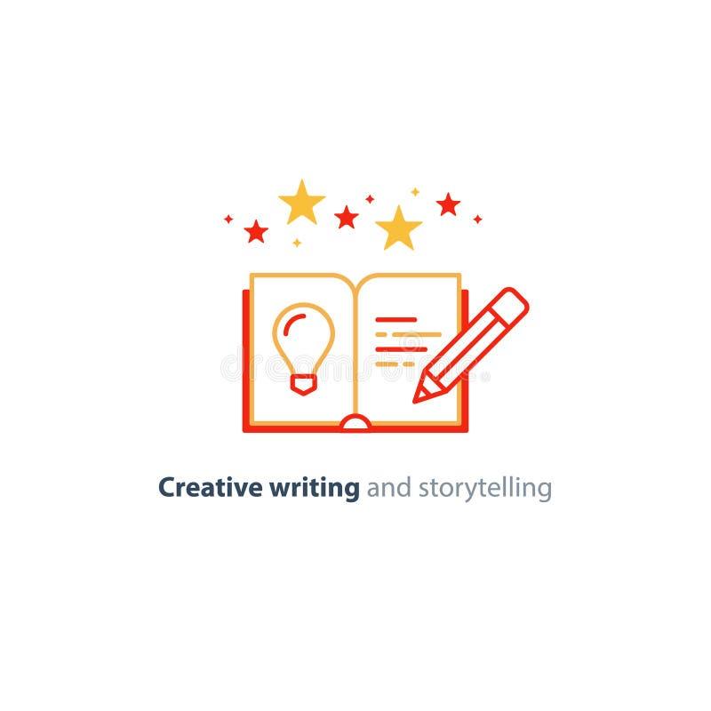 Kreatywnie writing, opowieść mówi pomysł, książkowa strona i ołówkowe liniowe ikony, ilustracja wektor