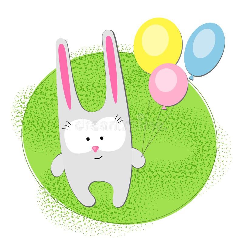 Kreatywnie zajęczy królik z balonami na jaskrawym - zielonego tła charakteru królika Śmieszna śliczna dziecięca zając dla urodzin royalty ilustracja