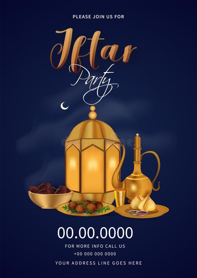 Kreatywnie zaproszenie karty szablon dla kartka z pozdrowieniami projekta dla Iftar przyjęcia świętowania royalty ilustracja