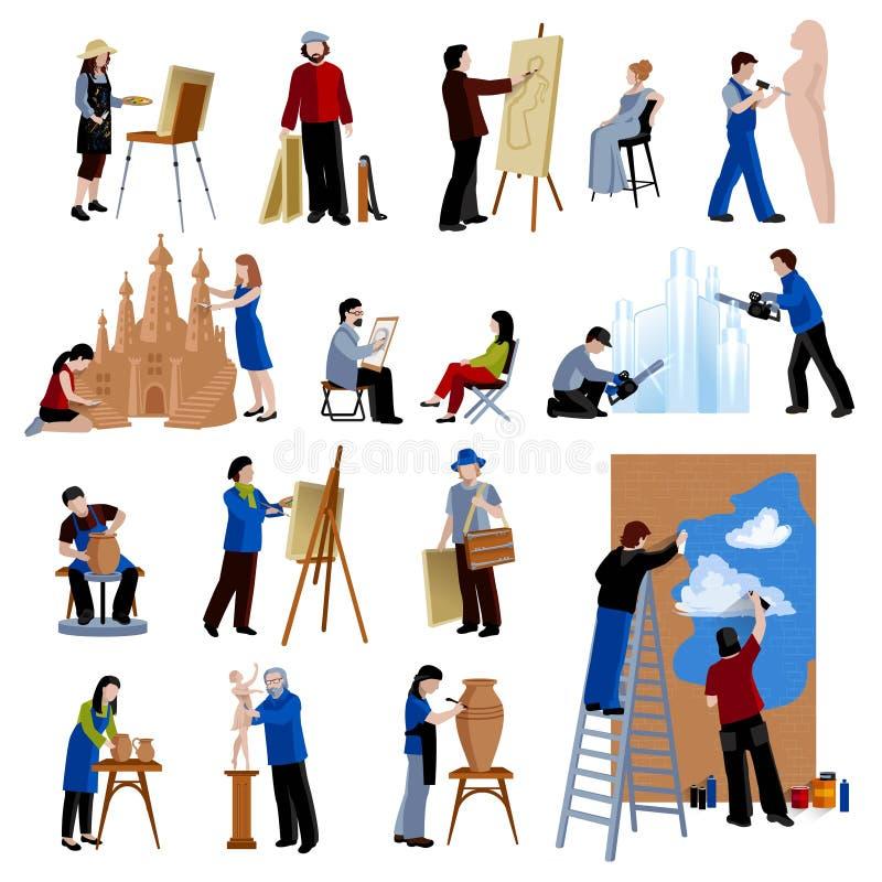Kreatywnie zawód ikon Ustawiać ludzie royalty ilustracja