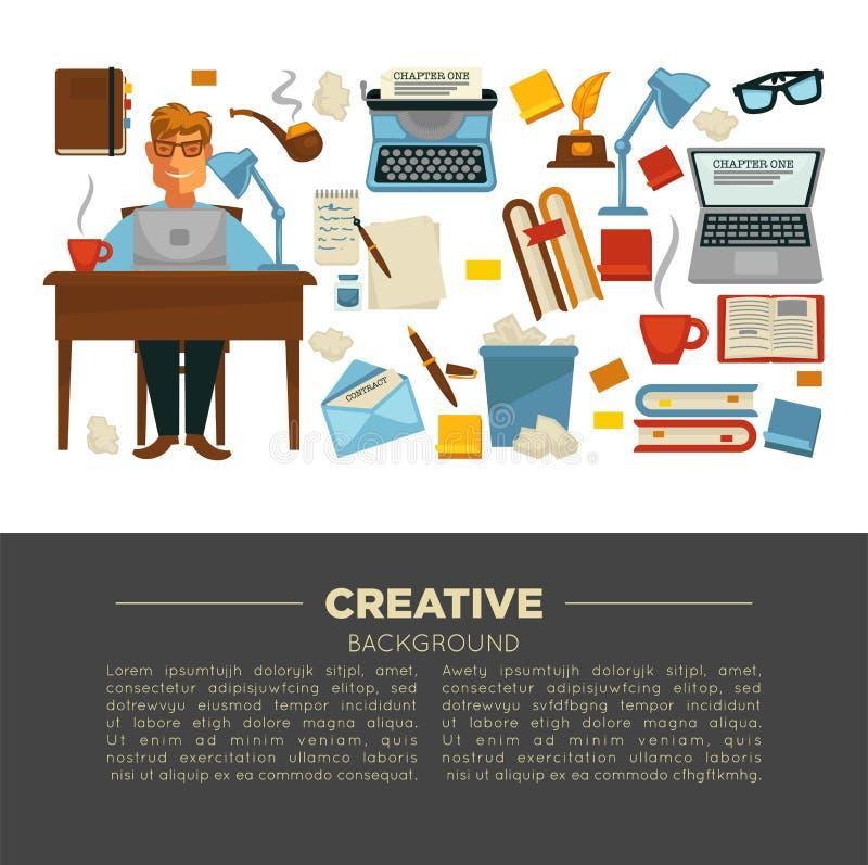 Kreatywnie zawód pisarski i pisze rzecz laptopie i pisać na maszynie maszynie ilustracja wektor
