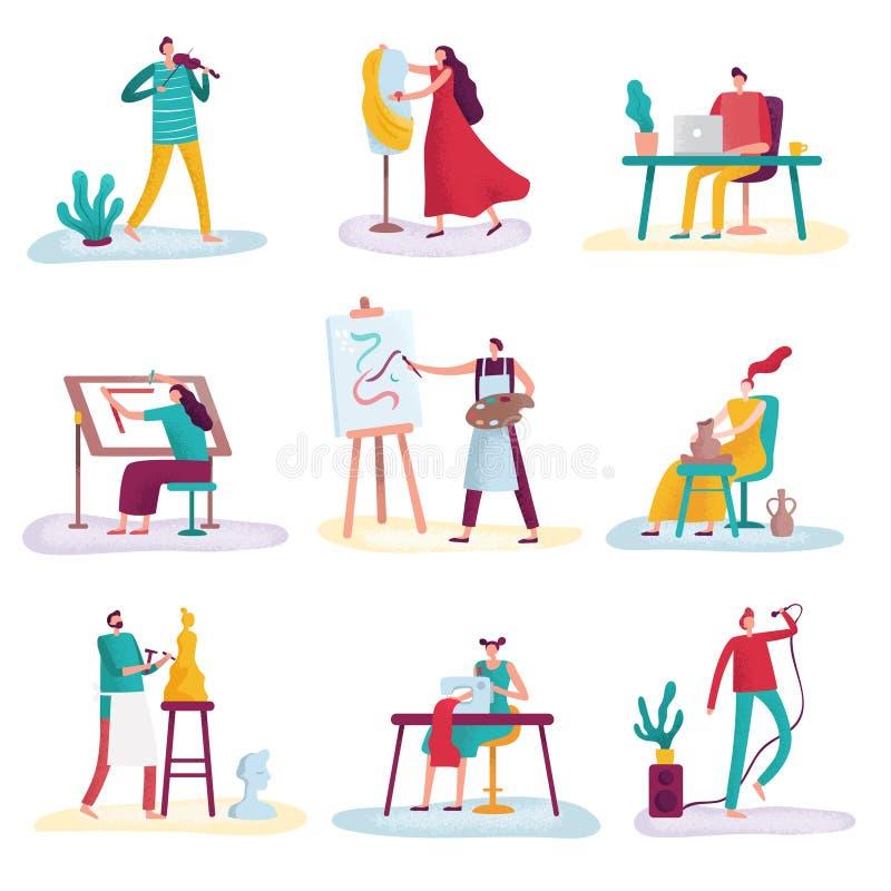 Kreatywnie zawodu artysty sztuki rzeźbiarza, rzemieślnika malarz i projektant mody Artystyczni ludzie, Twórców artyści royalty ilustracja