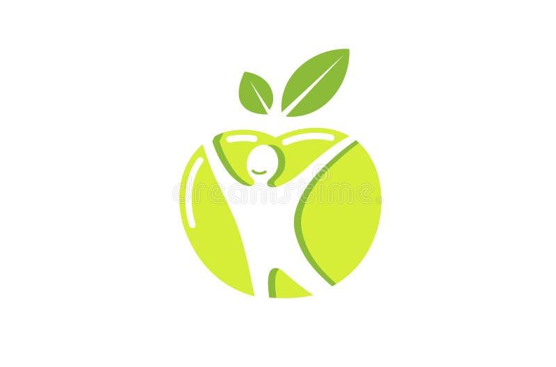 Kreatywnie Zielony Jabłczany Zdrowy ciało logo ilustracja wektor