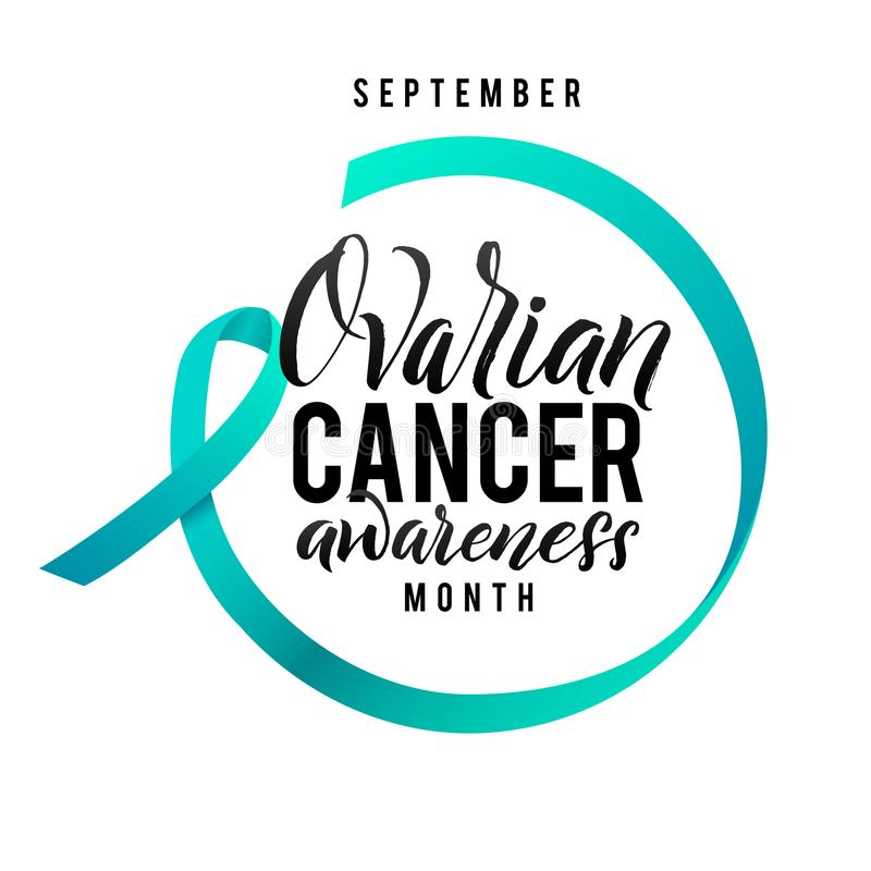 Krebs-Hoffnung Eierstockkrebs-Bewusstseins-Aufkleber Vektor Tamplate mit Teal Ribbon - Symbol des Krebs-Kampfes vektor abbildung
