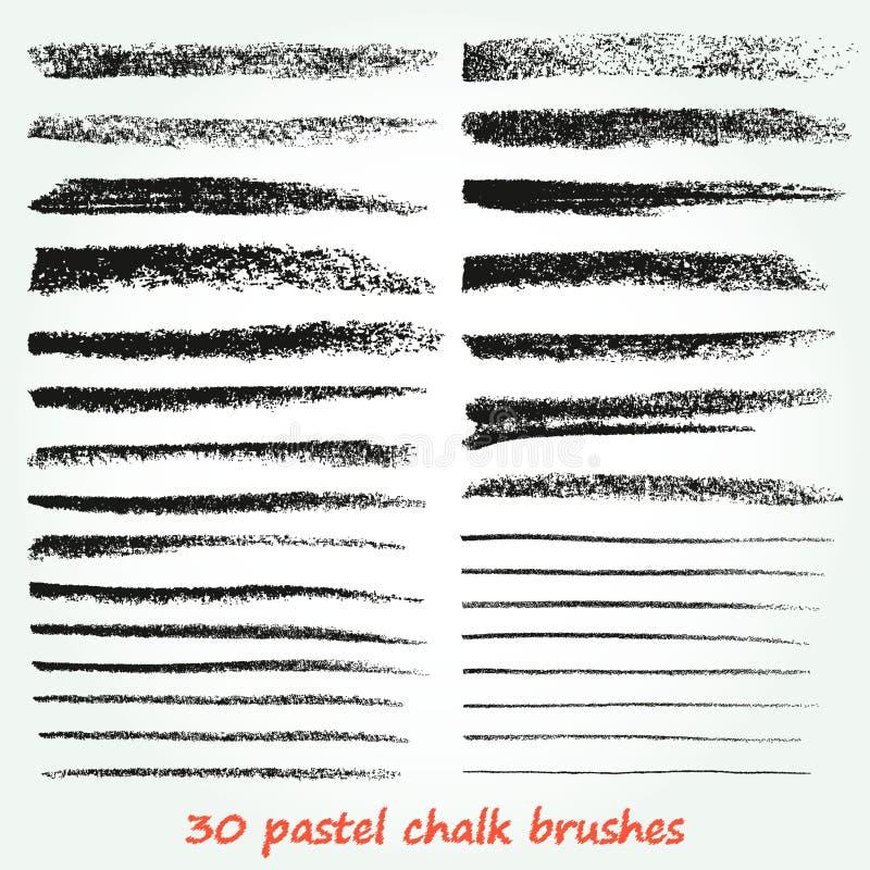 Kreda i węgiel drzewny Set wektorowi brushstrokes Grunge tekstura Wysoka rozdzielczość Muśnięcia przechują w palecie ilustracji