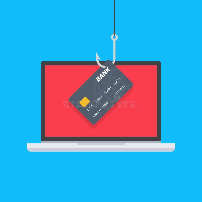 Krediet of debetkaart bij de visserij van haak, Internet-veiligheid vector illustratie