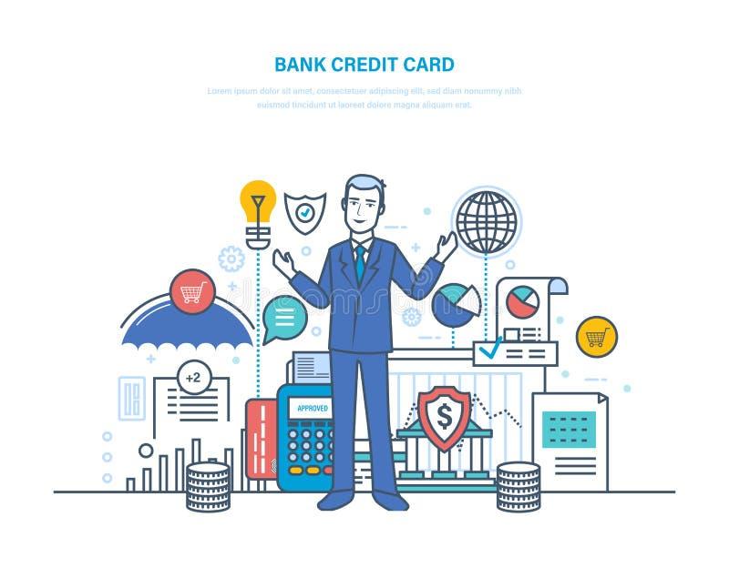 Kredietbetaalpas Betaalkaart, veilige transacties, niet-contante geldomzet vector illustratie