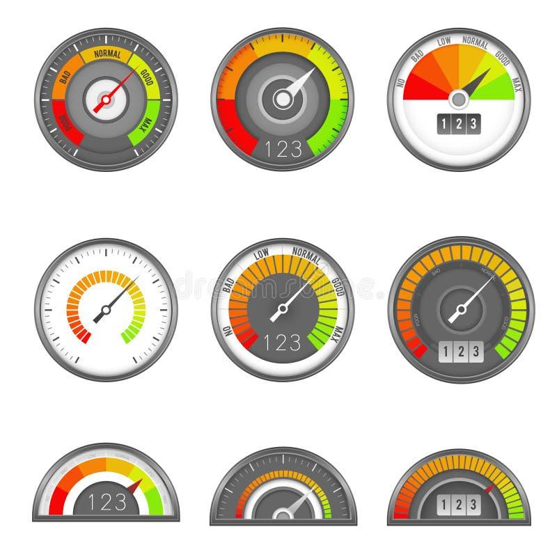 Kredietindicator De schaal van het de maatniveau van de snelheidsmeterscore, de wijzerplaat van het indicatortarief, hoge het min stock illustratie