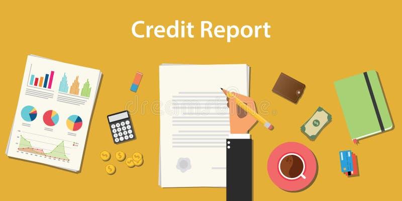 Kreditauskunft-Geschäftsillustration mit dem Geschäftsmann, der ein Schreibarbeitsdokument mit Diagramm und Diagramm unterzeichne stock abbildung